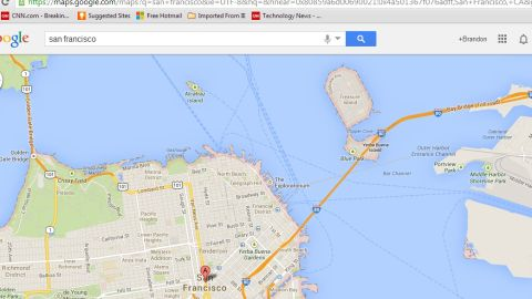 The mystery barge sits in Clipper Cove off Treasure Island, just east of San Francisco.