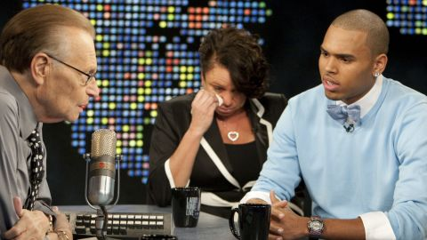 """<strong>September 2009:</strong> Brown and his mother appeared on CNN's """"Larry King Live"""" in his first TV interview since his arrest. """"I've said countless times how sorry I am to Rihanna, and I just accepted full responsibility,"""" Brown said. """"But it's just one of those things I wish I could have relived and just handled totally different."""""""