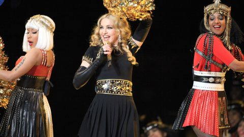 Rapper MIA (right) flipped the bird while performing with Nicki Minaj and Madonna during the Bridgestone Super Bowl XLVI Halftime Show in February 2012 in Indianapolis.
