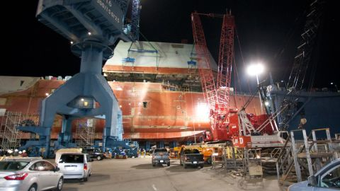Much of the ship's superstructure is wrapped in a canopy made of lightweight carbon-fiber composite. The ship is also built on angles so that it is 50 times harder to spot on radar than an ordinary destroyer.