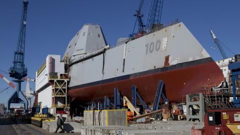 Coming out of dry dock does not mean the ship is ready to put to sea. The shipbuilder will now begin installing weapons. The Zumwalt will be equipped with a new missile-launching system capable of firing 80 missiles, including Tomahawk cruise missiles and Sea Sparrow surface-to-air missiles.