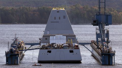 The Zumwalt is 610 feet long and 81 feet wide. It weighs about half as much as the USS Arizona, which sunk at Pearl Harbor in 1941.