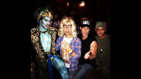 """<a href=""""http://instagram.com/p/f8Oe4gRsca/"""" target=""""_blank"""" target=""""_blank"""">Lance Bass rounded up some outrageously dressed friends</a> to rock out at a Halloween bash as Garth from """"Wayne's World."""""""
