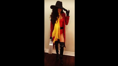 """Where in the world was <a href=""""http://instagram.com/p/f9M6Gik1ya/"""" target=""""_blank"""" target=""""_blank"""">Naya Rivera</a> headed? To a Halloween party as a sexy Carmen Sandiego, obviously."""