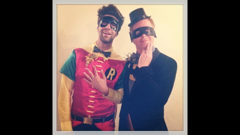 """Hyland's """"Modern Family"""" co-star Jesse Tyler Ferguson is still enjoying newlywed bliss. He and Justin Mikita, left, dressed up as Batman and Robin. """"Finally, batman & robin got married!"""" <a href=""""http://instagram.com/p/f9I9p8glgH/"""" target=""""_blank"""" target=""""_blank"""">Mikita said in the photo's caption on Instagram. </a>"""