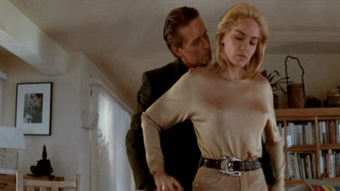 """<a href=""""http://www.toobeautiful.org/lat0429.html"""" target=""""_blank"""" target=""""_blank"""">Gay activists protested """"Basic Instinct</a>,"""" starring Michael Douglas and Sharon Stone, as they felt that the portrayal of her bisexual character was offensive."""