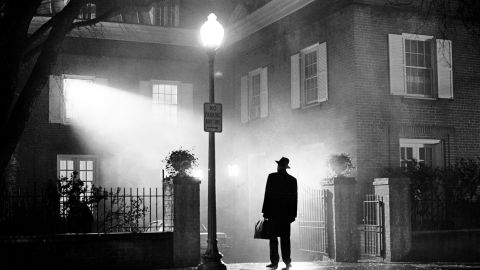 """The silhouetted image of actor Max von Sydow, playing Father Merrin, was featured on the poster for the 1973 theatrical release of """"The Exorcist."""" It remains one of the highest-grossing films of all time. Based on a 1971 novel by William Peter Blatty, it was nominated for 10 Academy Awards, including Best Picture."""
