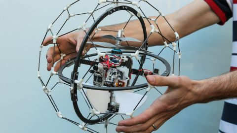 """The """"GimBall"""" has just won the $1 million first prize in the """"<a href=""""http://www.dronesforgood.ae/"""" target=""""_blank"""" target=""""_blank"""">Drones for Good</a>"""" competition. It is designed to access hard-to-reach areas such as burning buildings and nuclear disaster sites. Its robust outer structure means it is the first """"collision-tolerant"""" drone in the world, according to is creators -- Swiss company Flyability. As well as negotiating tight spaces it can roll along ceilings and floors, map its surroundings and beam images back to emergency services. Flip through the gallery to see the semi finalists from the competition."""