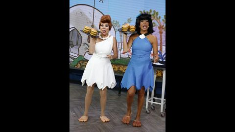 """Another """"Today"""" show pair, Kathie Lee Gifford and Hoda Kotb, went retro -- like, """"Flintstones"""" retro, as Wilma and Betty  -- for Halloween 2013."""