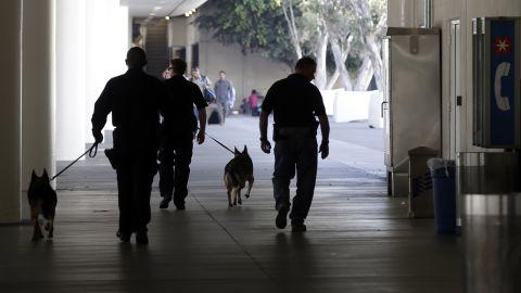 Police check the area around Terminal 1.