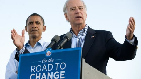 Biden speaks after being introduced as Obama's running mate while campaigning together after the Democratic National Convention in 2008.