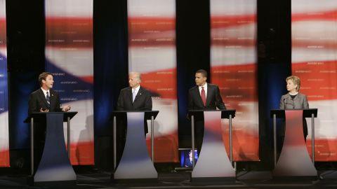 From left, former Sen. John Edwards, Biden, Obama and Sen. Hillary Clinton at a debate of Democratic presidential candidates on April 26, 2007, in Orangeburg, South Carolina.