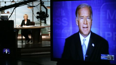 """As a ranking member of the Senate Foreign Relations Committee, Biden is interviewed on NBC's """"Meet the Press,"""" concerning the war in Iraq on August 14, 2005."""