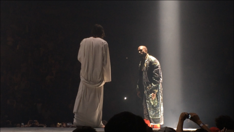 """<strong>October 2013: </strong>It wouldn't be a 'Ye performance if it didn't have a few special guests. West made sure his """"Yeezus"""" tour would be a topic of conversation when he had a look-alike Jesus appear on stage with him at Seattle's Key Arena on October 19."""