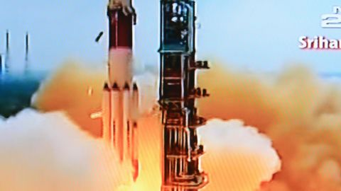 """This television frame grab taken from Indian television channel NDTV, broadcasting live footage from state television Doordarshan, shows the PSLV-C25 launch vehicle carrying the Mars Orbiter probe as its payload lifting off from the launch pad in Sriharikota on November 5, 2013. India's first mission to Mars blasted off November 5 with the country aiming to become the only Asian nation to reach the Red Planet with a programme showcasing its low-cost space technology. AFP PHOTO/NDTV/DOORDARSHAN = RESTRICTED TO EDITORIAL USE - MANDATORY CREDIT """"AFP PHOTO/NDTV/DOORDARSHAN """" - NO MARKETING NO ADVERTISING CAMPAIGNS - DISTRIBUTED AS A SERVICE TO CLIENTS =--/AFP/Getty Images"""