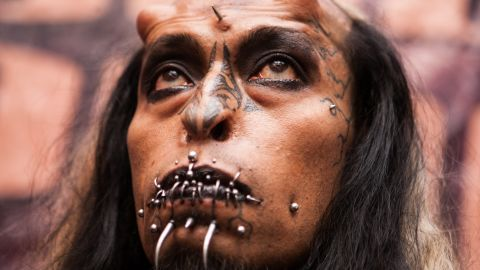 """A man at Venezuela Tattoo Expo in January appears as """"Satan,"""" complete with apparent horns."""