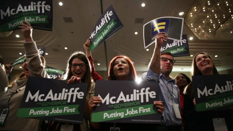 McAuliffe supporters attend an Election Night event in Tysons Corner on November 5.