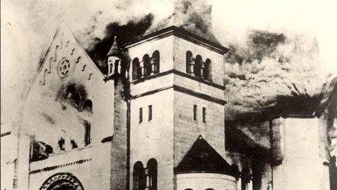 A synagogue burns in Baden-Baden, Germany.