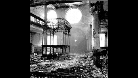 Debris lays scattered throughout the interior of a synagogue in Nueremberg, Germany.