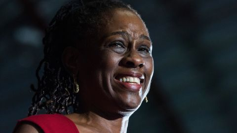 De Blasio's wife Chirlane McCray speaks at his election night party in New York City on November 5.