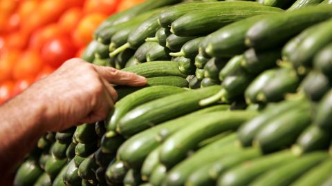 """<strong>Cucumber</strong><br />Water content: 96.7%<br /><br />This summer veggie -- which has the <a href=""""http://ndb.nal.usda.gov/ndb/foods/show/2945"""" target=""""_blank"""" target=""""_blank"""">highest water content </a>of any solid food -- is perfect in salads or sliced up and served with some hummus, says Keri Gans, author of """"The Small Change Diet: 10 Steps to a Thinner and Healthier You"""" and a consultant to Mindbloom, a technology company that makes life-improvement apps.<br /><br />Want to pump up cucumber's hydrating power even more? Try blending it with nonfat yogurt, mint and ice cubes to make cucumber soup. <br /><br /><a href=""""http://www.health.com/health/gallery/0,,20660118,00.html"""" target=""""_blank"""" target=""""_blank"""">Health.com: The best foods for every vitamin and mineral</a><br />"""