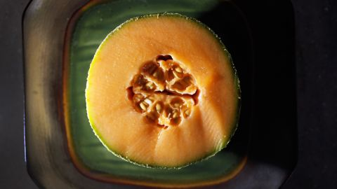 """<strong>Cantaloupe</strong><br />Water content: 90.2%<br /><br />This succulent melon provides a big nutritional payoff for very few calories. One 6-ounce serving -- about one-quarter of a melon -- contains just 50 calories but delivers a full 100% of your recommended daily intake of vitamin A.<br /> """"I love cantaloupe as a dessert,"""" Gans says. """"If you've got a sweet tooth, it will definitely satisfy."""" Tired of plain old raw fruit? Blend cantaloupe with yogurt and freeze it into sherbet, or puree it with orange juice and mint to make a refreshing soup."""