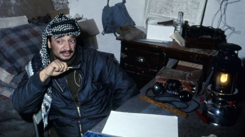 Arafat founded the group Al-Fatah in 1958, advocating for armed struggle against Israel. A decade later, the group joined the Palestine Liberation Organization, which was formed under the authority of the Arab League. Arafat, seen here in December 1968, was elected chairman of the PLO's executive committee in February 1969.