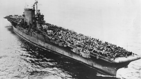 There have actually been two aircraft carriers named after the Revolutionary War's Battle of Saratoga. The first USS Saratoga, seen here moving toward San Francisco's Golden Gate Bridge in 1945, was one of two members of the Lexington class of aircraft carriers.