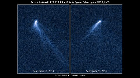 """The Hubble Space Telescope snapped a series of images on September 10, 2013, revealing a never-before-seen sight: An asteroid that appeared to have <a href=""""http://www.nasa.gov/press/2013/november/nasas-hubble-sees-asteroid-spouting-six-comet-like-tails/#.VAilBPmwLYg"""" target=""""_blank"""" target=""""_blank"""">six comet-like tails</a>."""