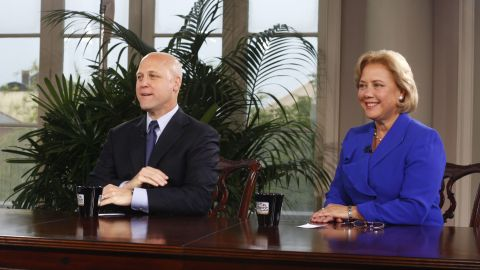 """New Orleans Mayor Mitch Landrieu and his sister, then-U.S. Sen. Mary Landrieu, are interviewed during a special edition of """"Meet The Press"""" in New Orleans in 2010."""