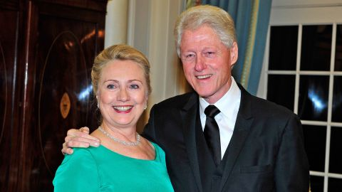 Former Secretary of State Hillary Clinton and former President Bill Clinton attend a State Department dinner in 2012. Hillary Clinton is the presumptive Democratic nominee for president.