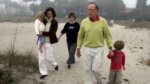 Former U.S. Sen. Sam Nunn, his wife Colleen, daughter Michelle, and his grandchildren walk the beach at Sea Island, Georgia, in 2007. Michelle Nunn was a Democratic candidate for Georgia's U.S. Senate seat in 2014.