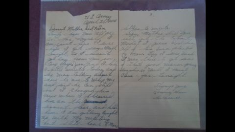 This letter was discovered folded up in the bottom of the Purple Heart presentation box. It is believed to be the last letter Pfc. Clarence Merriott wrote to his family.