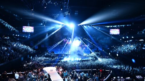 A wide view of the Ziggo Dome captures the lights and excitement on Sunday.