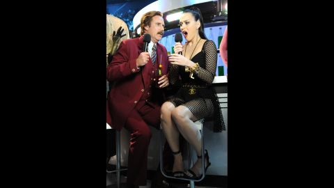 """Will Ferrell as """"Anchorman's"""" Ron Burgandy joins Katy Perry onstage."""
