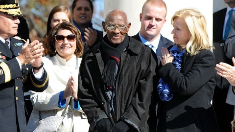 Richard Overton, 107 years old,  is acknowledged during a ceremony at Arlington National Cemetery in Virginia on Monday.