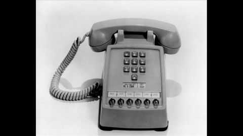 The first push-button telephone is introduced on Feb. 28, 1963.  This phone has extension buttons at bottom for office use.  (AP Photo)