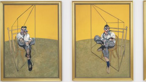 """""""Three Studies of Lucian Freud"""" was painted by Francis Bacon in 1969."""