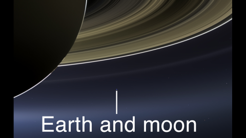 Cassini does not attempt many images of Earth because the sun is so close to the planet that an unobstructed view would damage the spacecraft's sensitive detectors. Cassini team members looked for an opportunity when the sun would slip behind Saturn from Cassini's point of view.