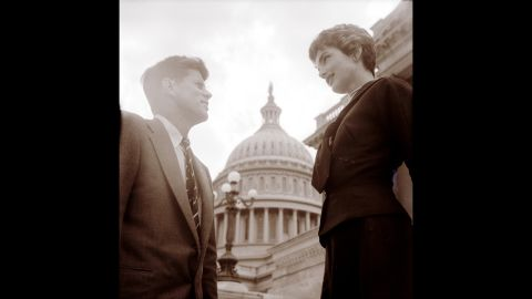 John F. Kennedy and Jacqueline Kennedy at the U.S. Capitol on May 6, 1954.