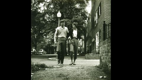 The couple strolling in the Georgetown area of Washington on May 8, 1954.