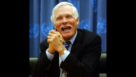 Turner speaks at United Nations headquarters in December 2002. One month later, he resigned as vice chairman from AOL Time Warner Inc.