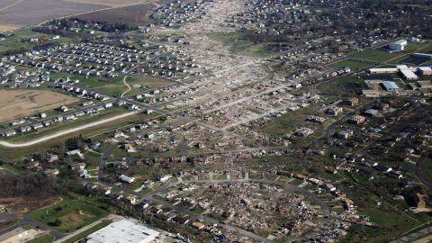 An aerial photo taken on November 18 shows tornado-damaged homes in Washington, Illinois.