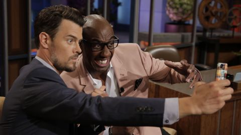 """Duhamel and comedian JB Smoove take a selfie during a commercial break on """"The Tonight Show with Jay Leno."""""""