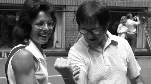 Billie Jean King with Bobby Riggs before the 'Battle of the Sexes' match in 1973.