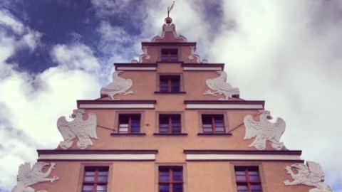 A close-up shot of the Pod Gyfami building in Wroclaw which dates back to the 14th century.