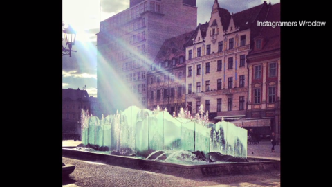 In this Instagram snap the stylish fountains of Wroclaw's Market Square bask in the soft glow of the morning sun.