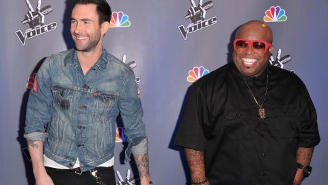 """Levine and singer Cee Lo Green arrive at a press conference for """"The Voice"""" in Los Angeles in 2011."""