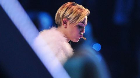 Cyrus smokes a marijuana joint onstage during the MTV Europe Music Awards in Amsterdam, Netherlands, on November 10.