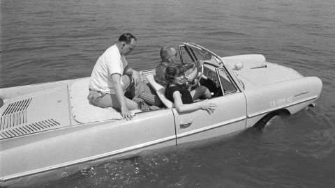 """Lyndon B. Johnson kept a collection of vehicles at his ranch in Texas. Among them was the <a href=""""http://www.nps.gov/lyjo/planyourvisit/presidentialvehicles.htm"""" target=""""_blank"""" target=""""_blank"""">Amphicar</a>, a civilian amphibious passenger car produced in the 1960s."""